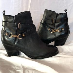 Leather booties black with gold tone hardware NWOT